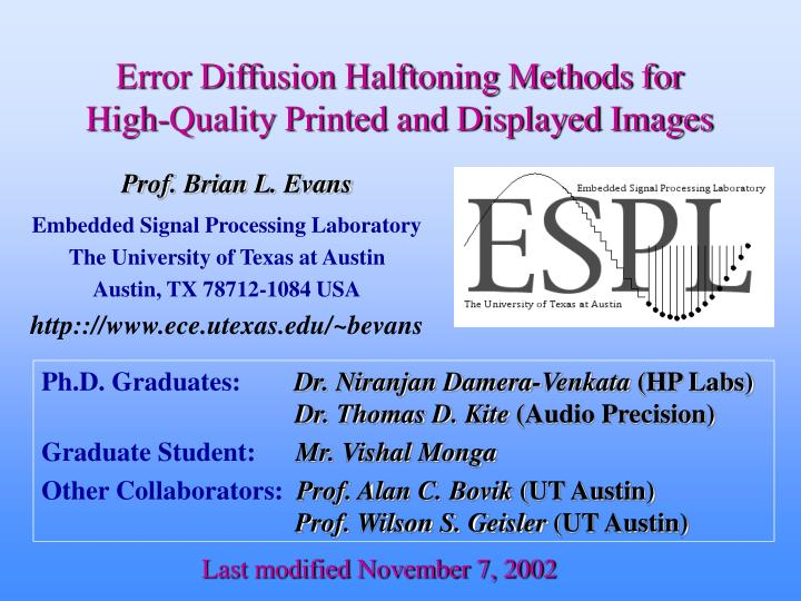 Error diffusion halftoning methods for high quality printed and displayed images