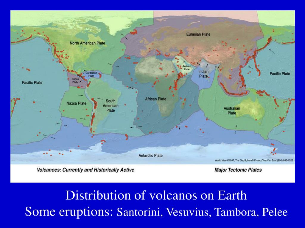 Distribution of volcanos on Earth