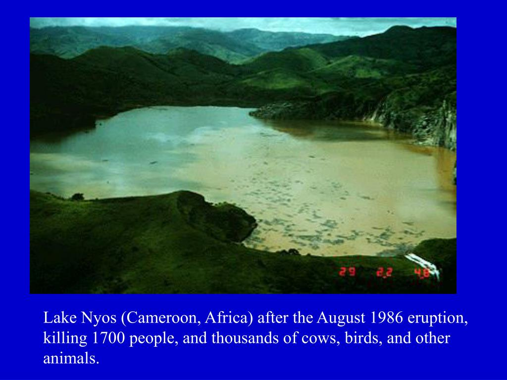 Lake Nyos (Cameroon, Africa) after the August 1986 eruption, killing 1700 people, and thousands of cows, birds, and other animals.