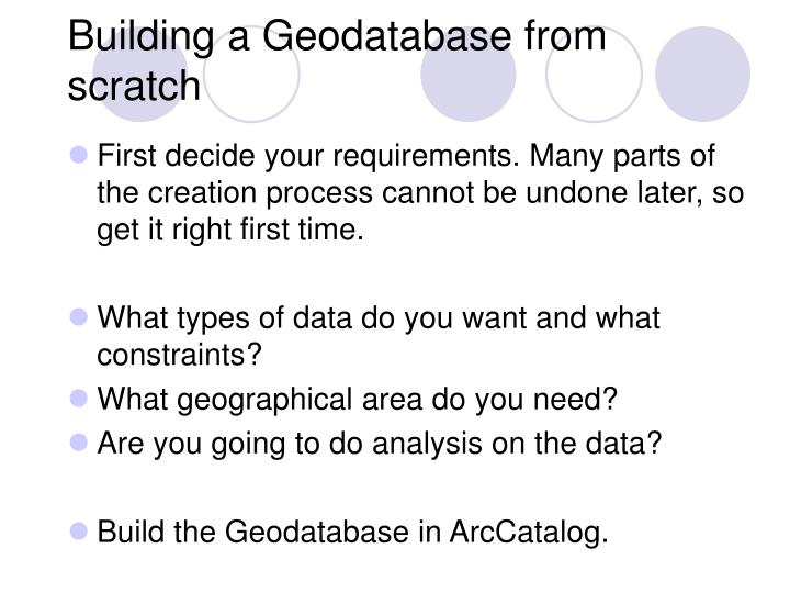 Building a Geodatabase from scratch