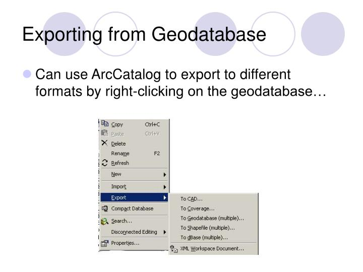 Exporting from Geodatabase