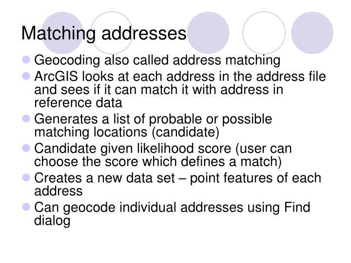 Matching addresses