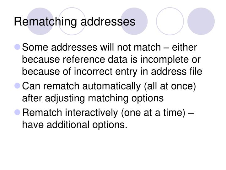 Rematching addresses