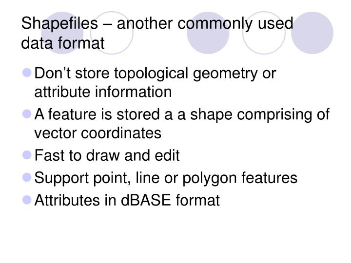 Shapefiles – another commonly used data format