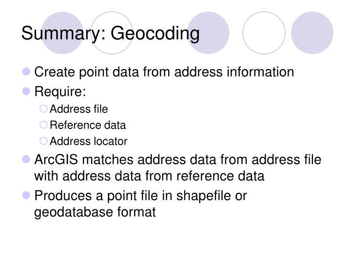 Summary: Geocoding