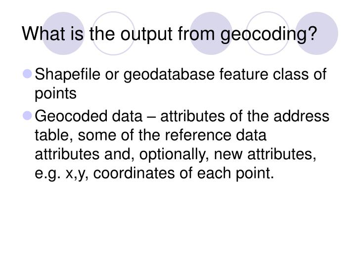 What is the output from geocoding?
