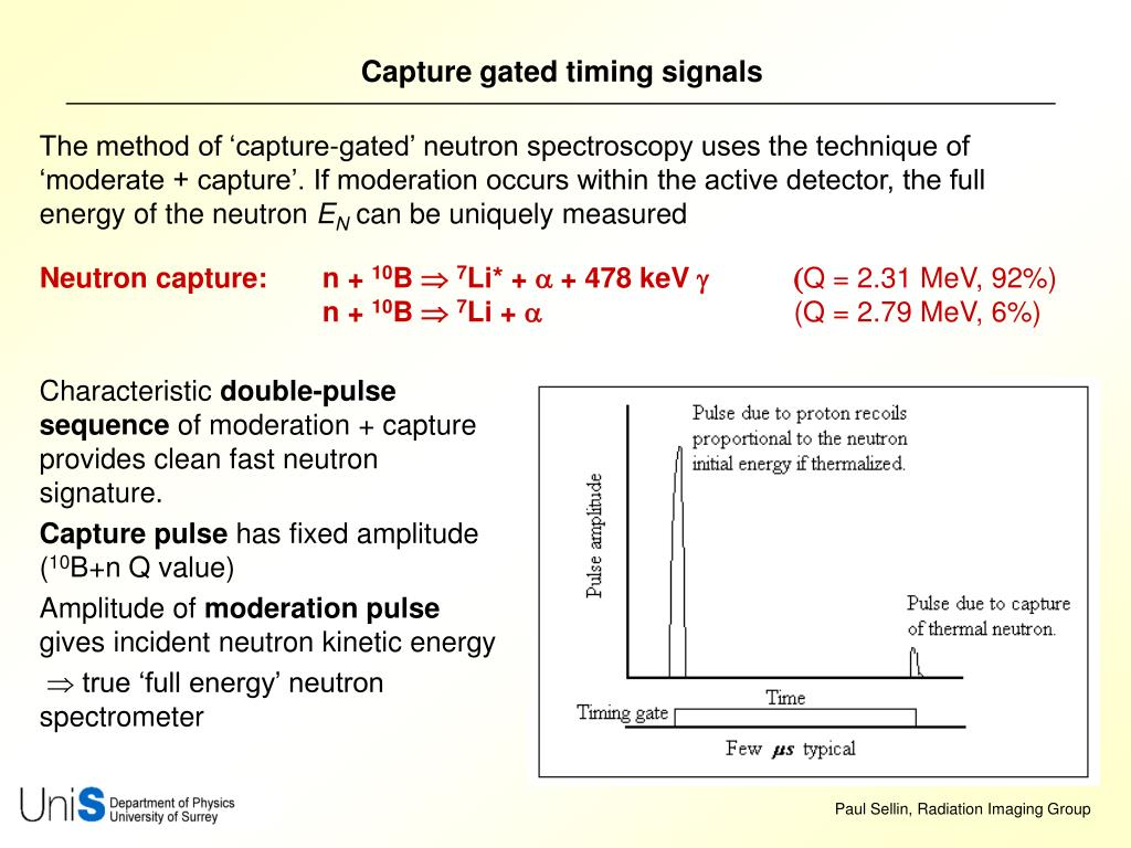 The method of 'capture-gated' neutron spectroscopy uses the technique of 'moderate + capture'. If moderation occurs within the active detector, the full energy of the neutron