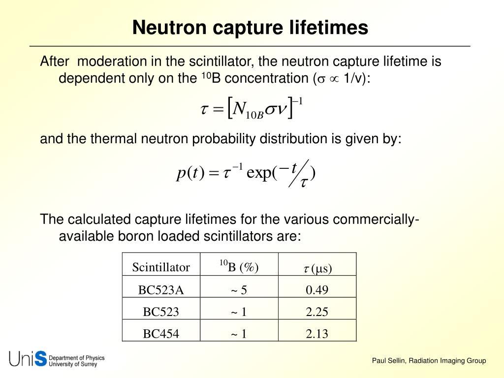 Neutron capture lifetimes