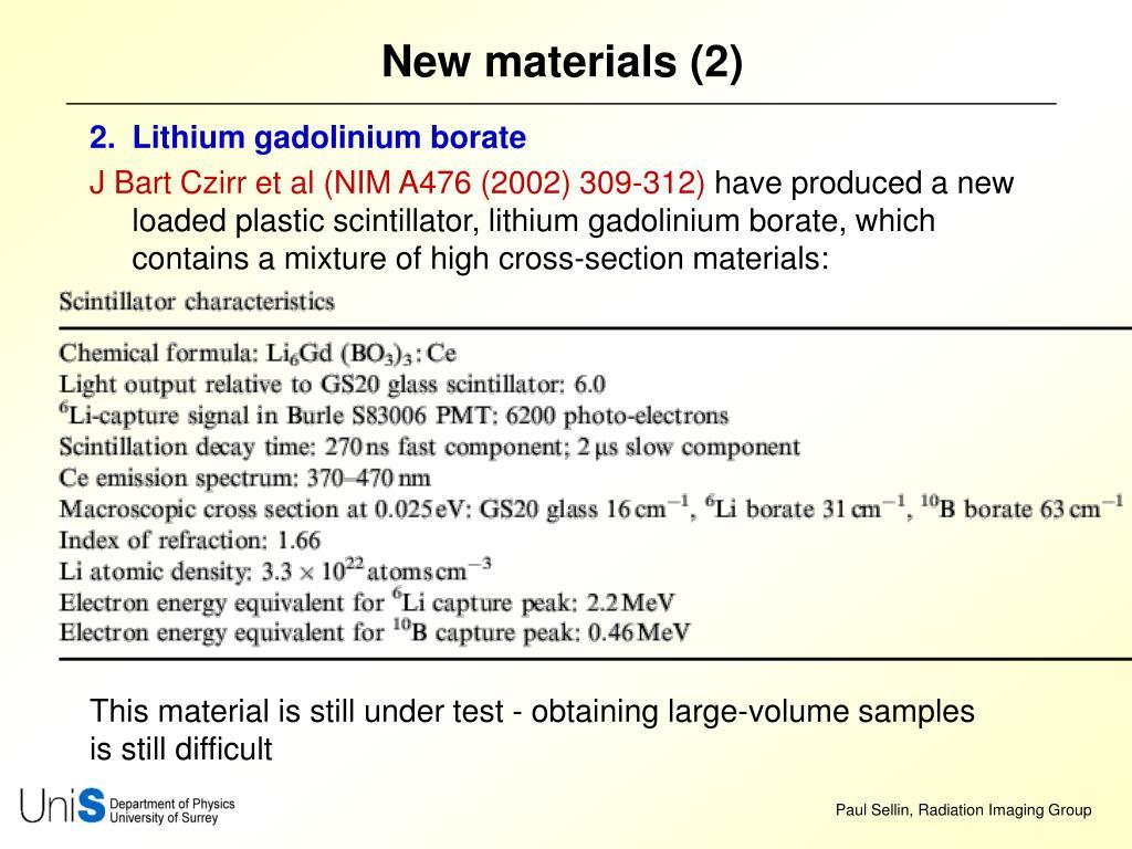 New materials (2)