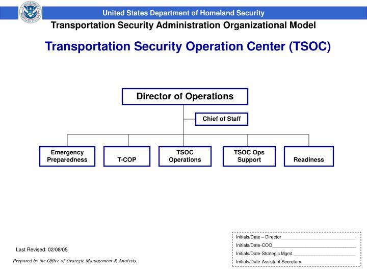 Transportation Security Operation Center (TSOC)