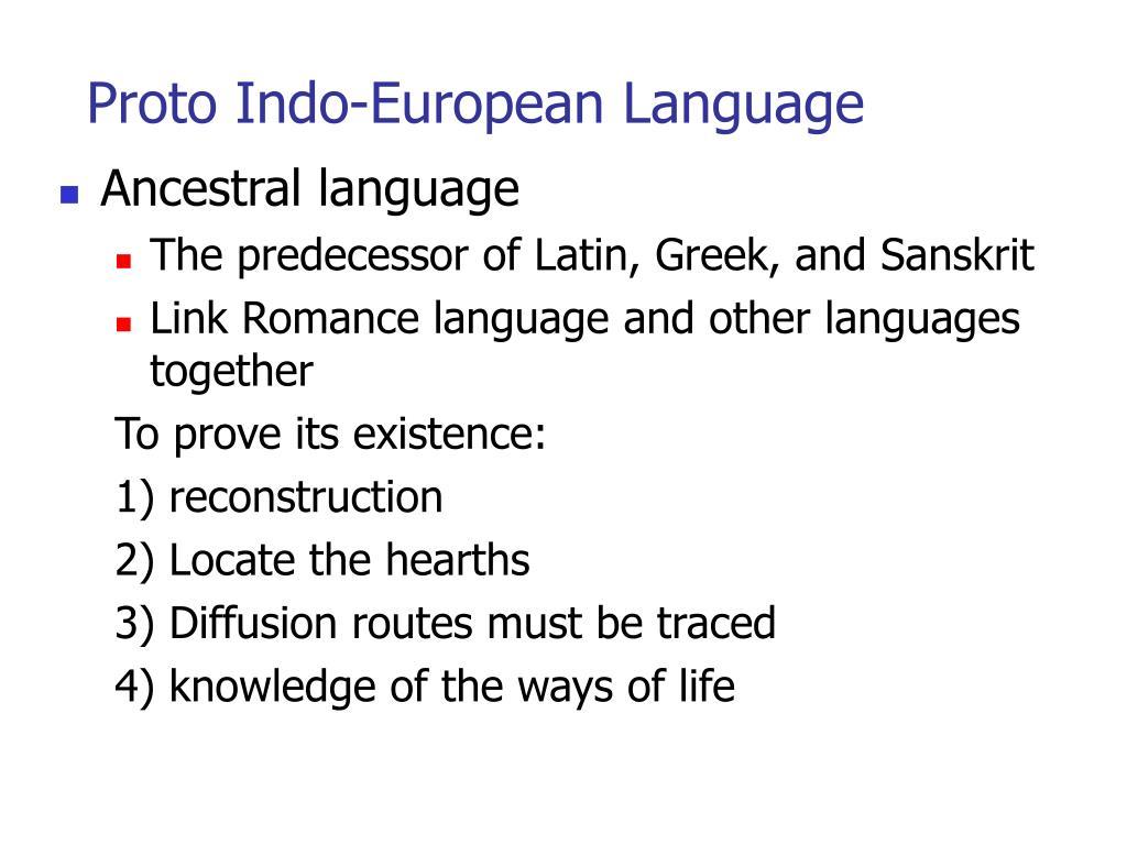 Proto Indo-European Language