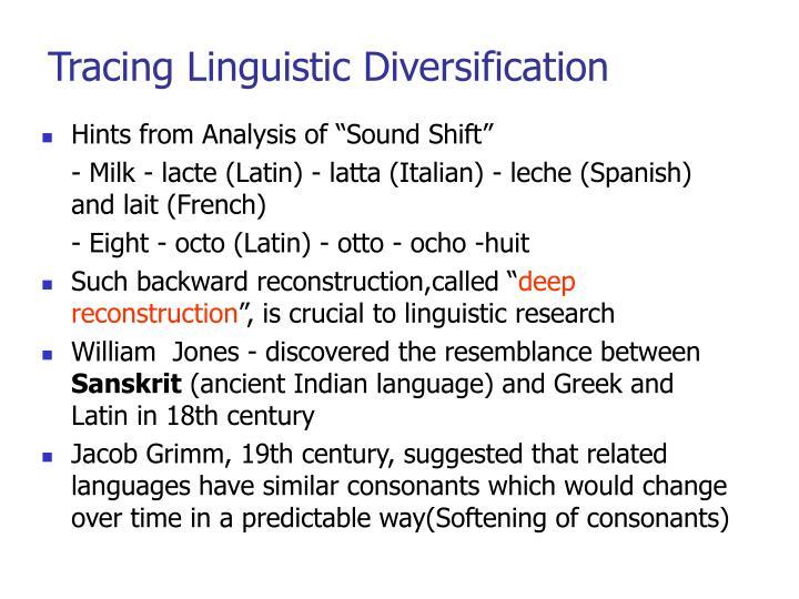 Tracing linguistic diversification