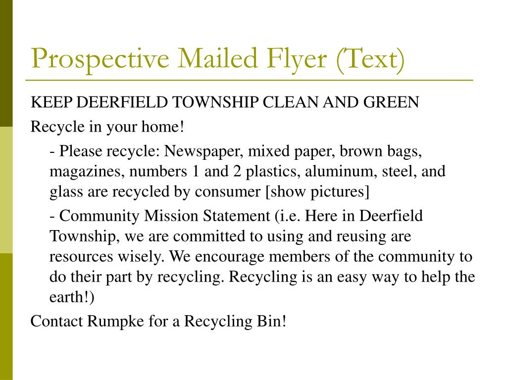 Prospective Mailed Flyer (Text)
