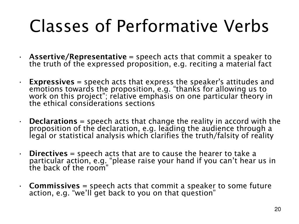 Classes of Performative Verbs