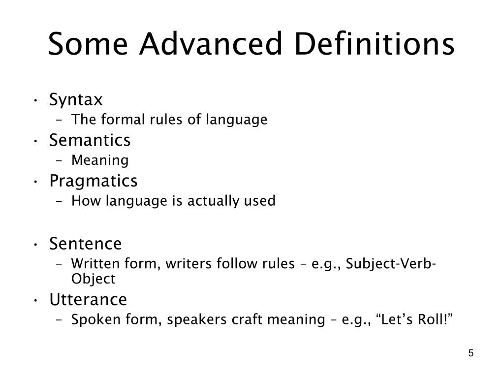 Some Advanced Definitions