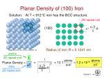 planar density of 100 iron