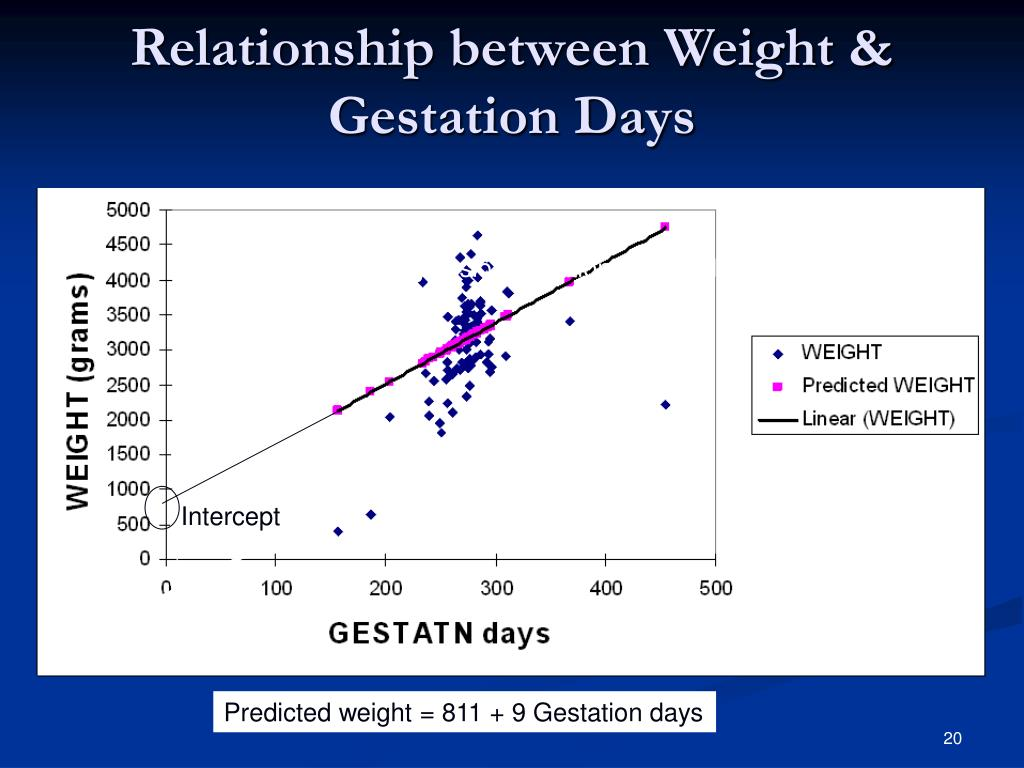 Relationship between Weight & Gestation Days