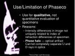use limitation of phaseco