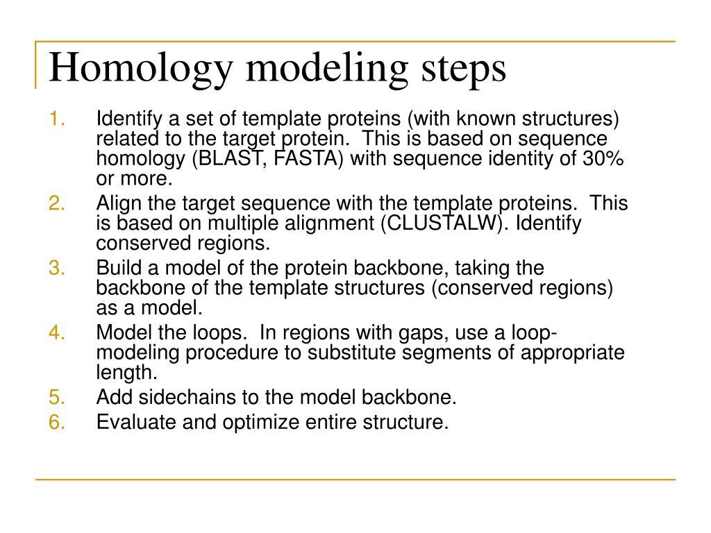 Homology modeling steps
