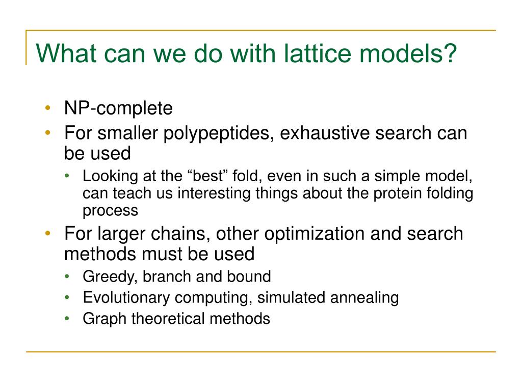 What can we do with lattice models?