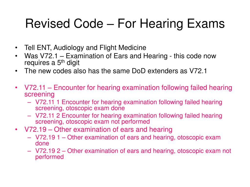 Revised Code – For Hearing Exams