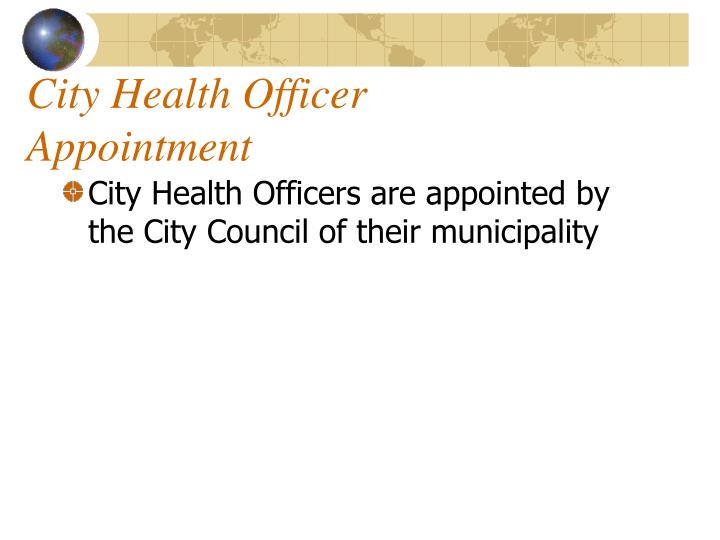 City health officer appointment