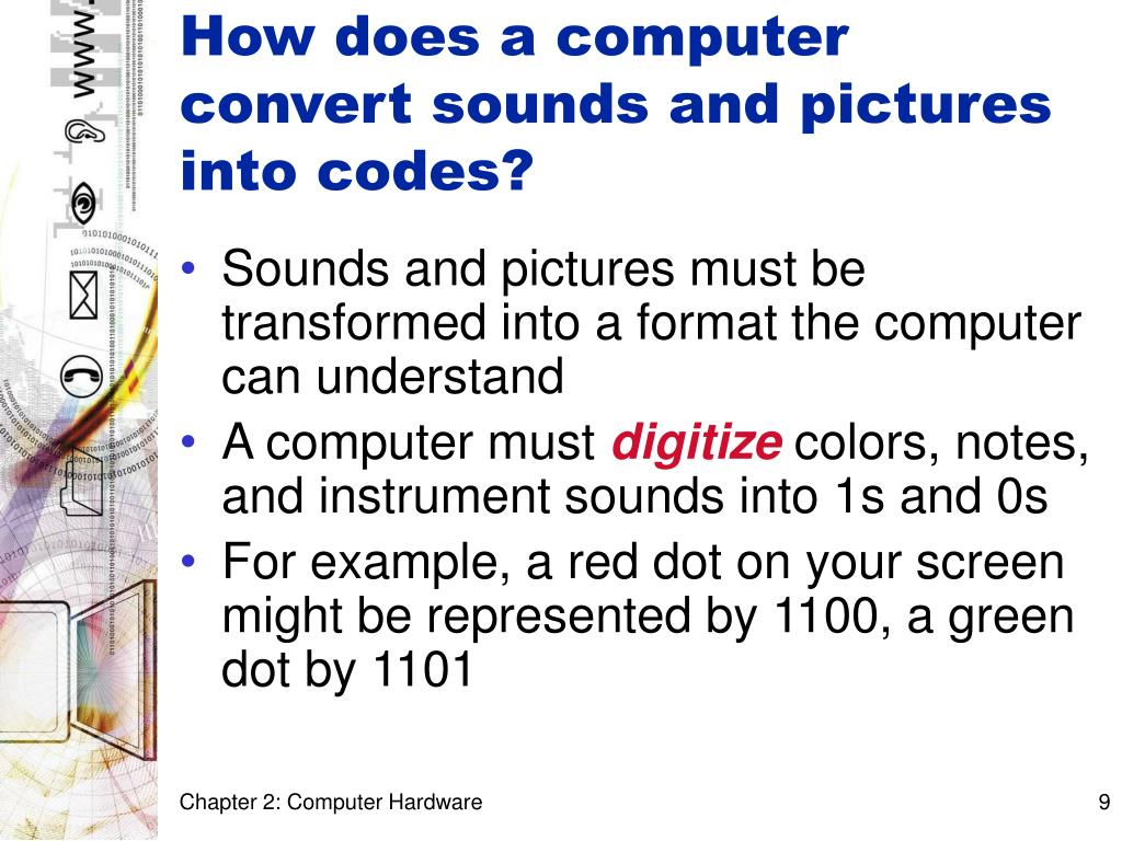 How does a computer convert sounds and pictures into codes?