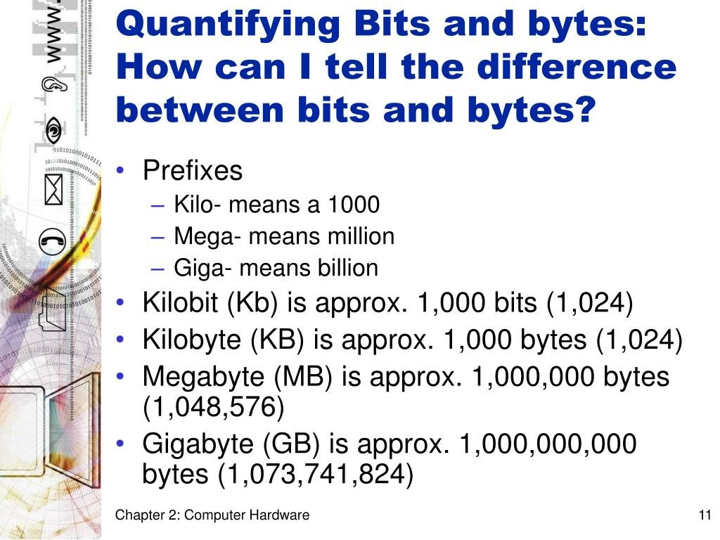 Quantifying Bits and bytes: How can I tell the difference between bits and bytes?