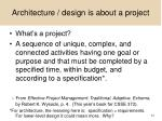 architecture design is about a project
