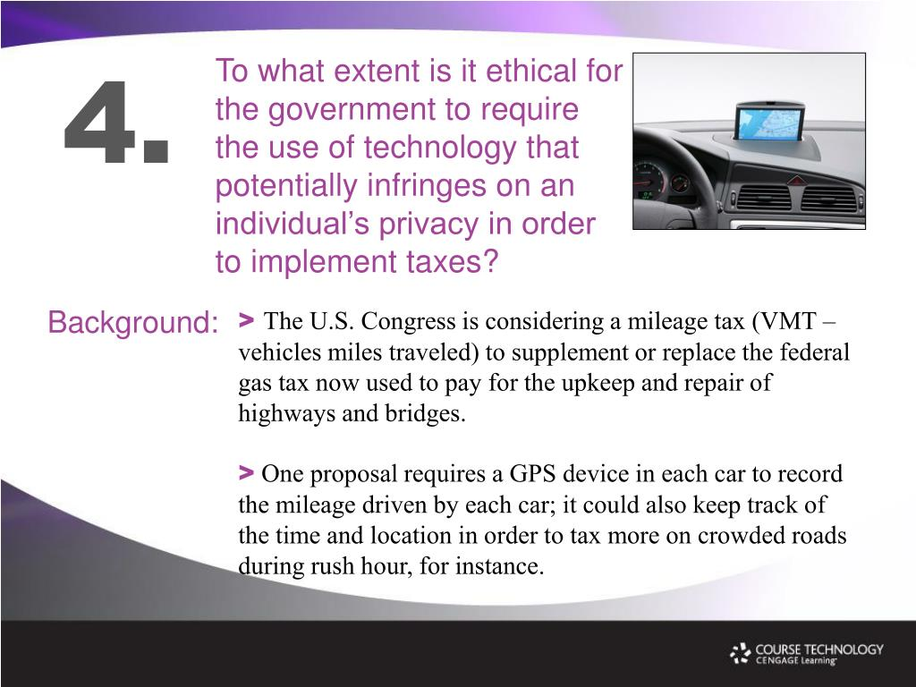To what extent is it ethical for the government to require the use of technology that potentially infringes on an individual's privacy in order to implement taxes?