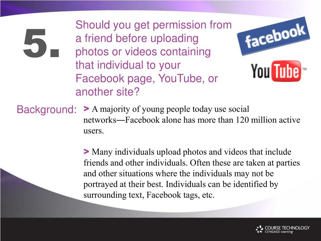 Should you get permission from a friend before uploading photos or videos containing that individual to your Facebook page, YouTube, or another site?