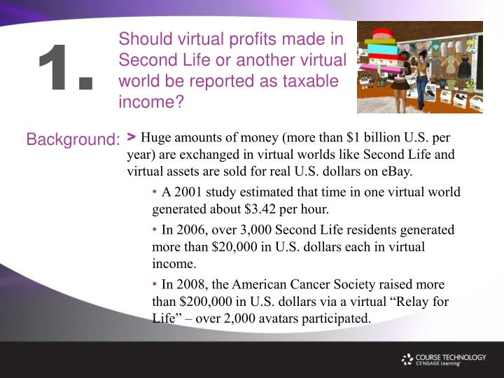 Should virtual profits made in Second Life or another virtual world be reported as taxable income?