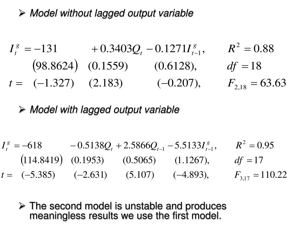 Model without lagged output variable