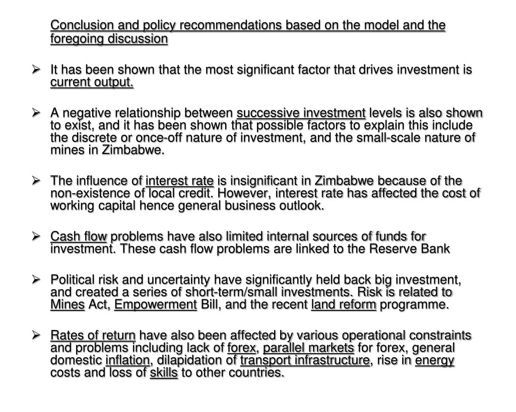 Conclusion and policy recommendations based on the model and the foregoing discussion