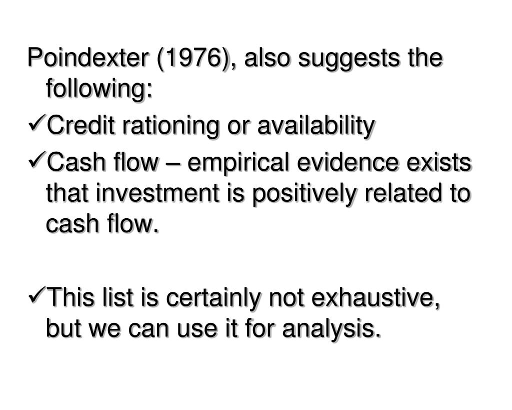 Poindexter (1976), also suggests the following: