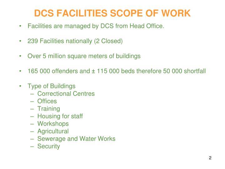 Dcs facilities scope of work