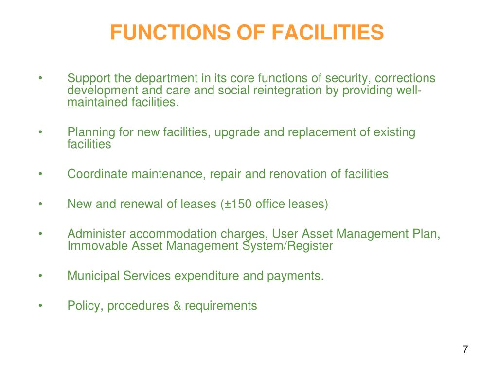 FUNCTIONS OF FACILITIES