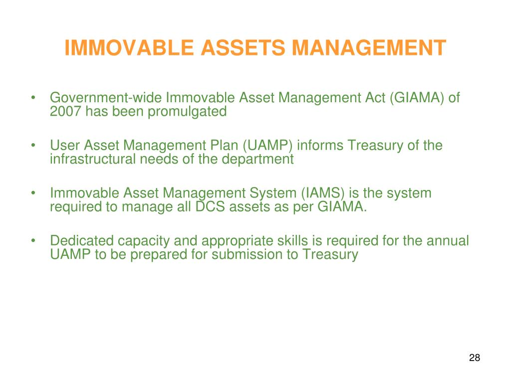 IMMOVABLE ASSETS MANAGEMENT