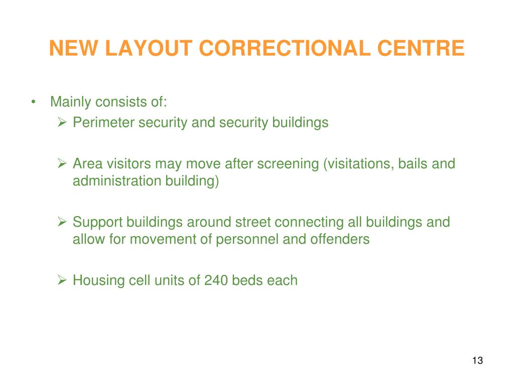 NEW LAYOUT CORRECTIONAL CENTRE
