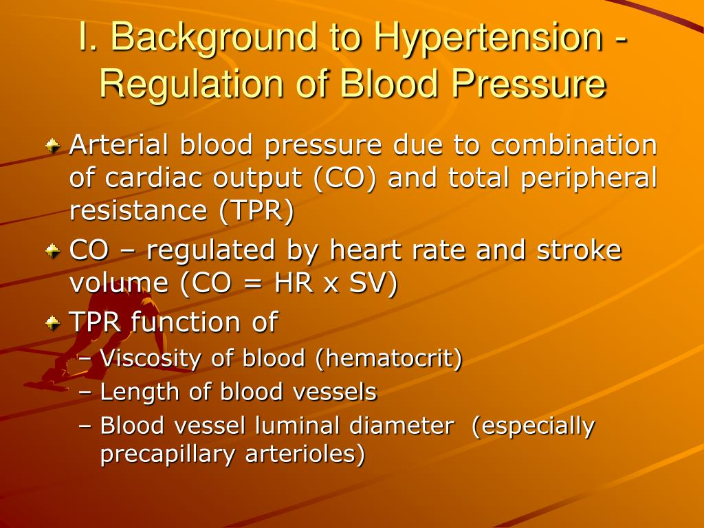 I. Background to Hypertension -