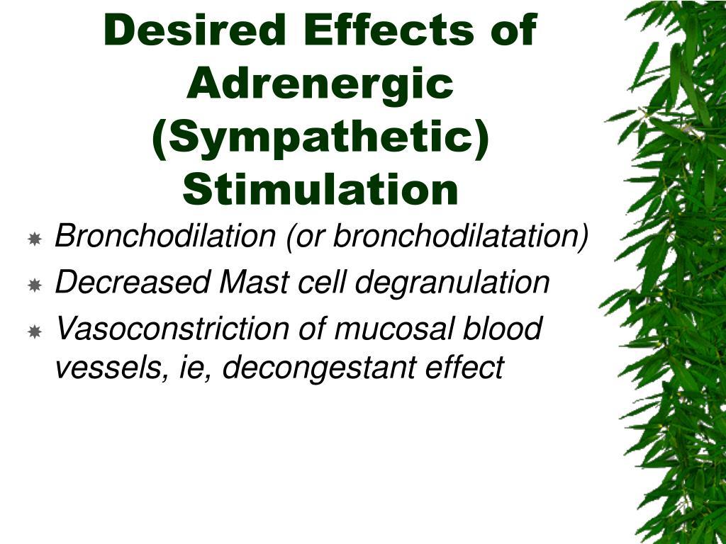 Desired Effects of Adrenergic (Sympathetic) Stimulation