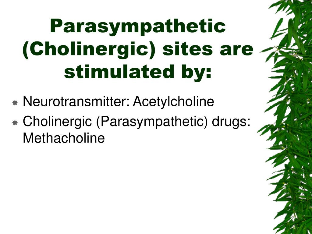 Parasympathetic (Cholinergic) sites are stimulated by: