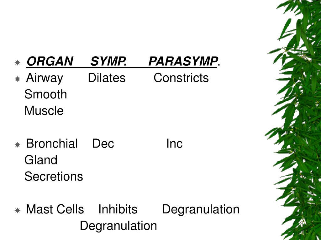 ORGAN     SYMP.      PARASYMP