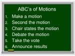 abc s of motions