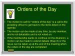 orders of the day
