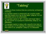 tabling