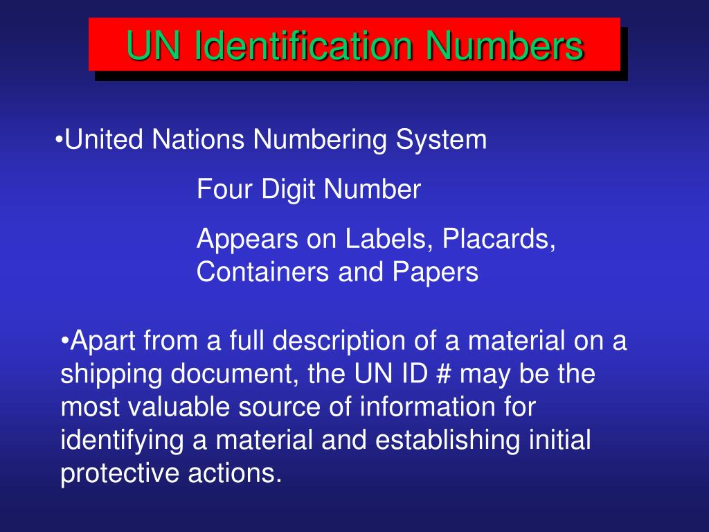 UN Identification Numbers