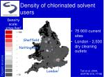 density of chlorinated solvent users