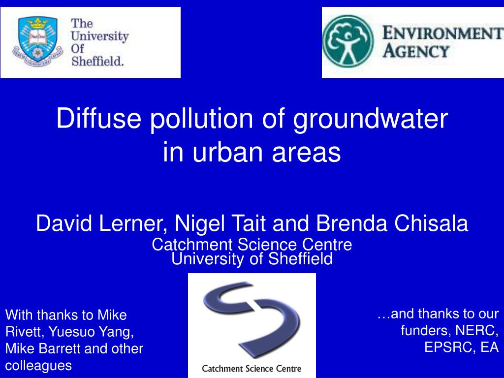 diffuse pollution of groundwater in urban areas l.