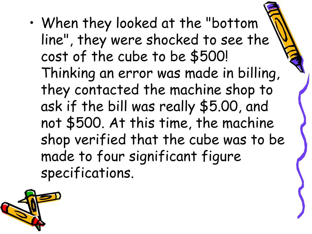 """When they looked at the """"bottom line"""", they were shocked to see the cost of the cube to be $500! Thinking an error was made in billing, they contacted the machine shop to ask if the bill was really $5.00, and not $500. At this time, the machine shop verified that the cube was to be made to four significant figure specifications."""